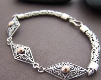 Balinese Silver Bracelet - Vintage Sterling Silver Vermeil Link Bracelet