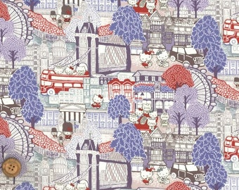 Liberty Tana Lawn Fabric - Liberty Japan, Capital Hello Kitty, Liberty Print Cotton Scrap, Kawaii Quilting - ntkitty43f