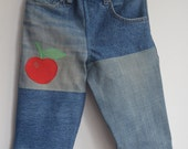 Denim Pants with Applique Apple