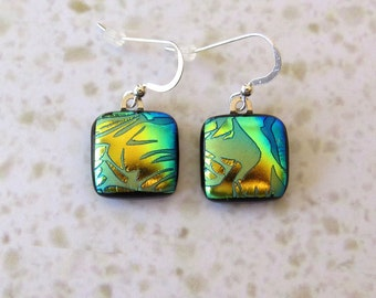 Blue Green Earrings - Unique Dichroic Fused Glass Dangle Earrings with Luminous Gold Perfect Birthday Gift for Her 7-15