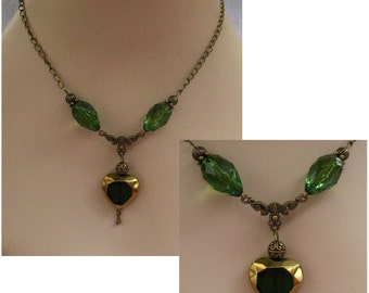 Burnished Gold & Green Heart Necklace Jewelry Handmade NEW Accessories Fashion