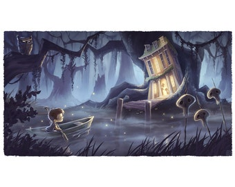 Night on the Bayou | Fine Art Print, Spooky Illustration Inspired by Pirates of the Carribean | Flimflammery