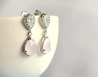 Pink bridal earrings , bridesmaids earrings , ice pink drop earrings