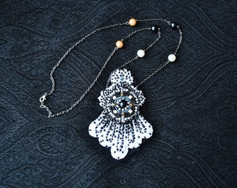 SALE White Nights Couture Hand Beaded necklace/ Lace necklace/ Beaded Necklace/rusteam