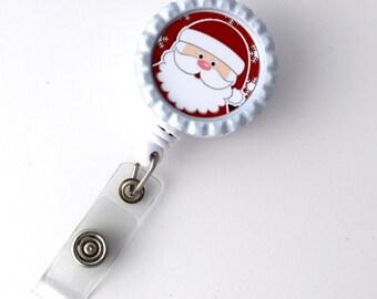 Santa Claus red background - Nursing Badge Holder - Holiday Badge Reel  - RN - Nurses Badge - Cute Badge Reel - Santa Claus Badge Reel