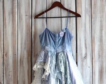 Bridal party slip dress, Bohemian chic slip dress, Boho weddings, shabby cottage chic dresses, Custom order, sage green True rebel clothing