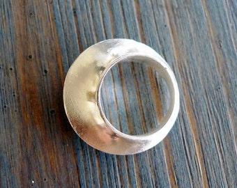 Crown. Asymmetrical  Modern Chunky Handmade Shiny Sterling Silver Ring. Unisex Men Or Women. Fine Jewelry. Handmade Sculptured Silver Ring.
