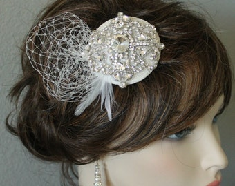 DeBeers Rhinestone Russian Netting & Feather Headpiece Hair Comb Wedding Bridal