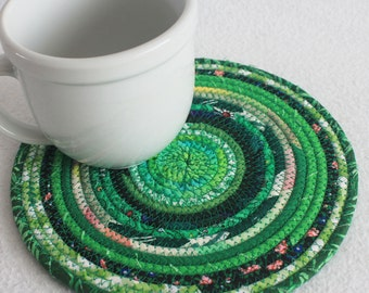 Coiled Rope Mat / Mug Rug / Trivet / Hot Pad / Eco Green Round / by PrairieThreads