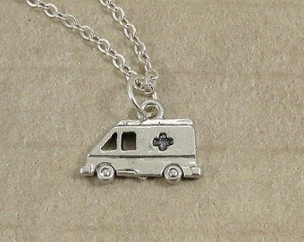 Ambulance Necklace, Silver Ambulance Charm on a Silver Cable Chain