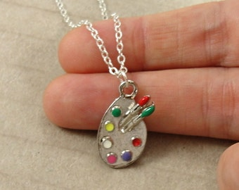 Artist Palette Necklace - Silver Plated Artist Pain Palette Charm on a Silver Cable Chain