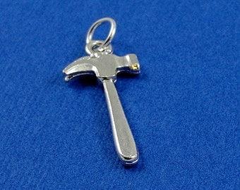 Carpenter Hammer Charm - Silver Plated Hammer Charm for Necklace or Bracelet