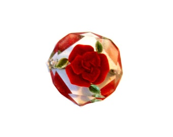Reverse Carved Lucite Red Rose Brooch Pin, 1940's Vintage, Mid Century Collectible, Red Rose and Green Leaves, VisionsOfOlde