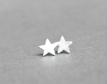 Large Silver Star Stud Earrings - Star Studs, Simple Star Earrings, Sterling Silver Posts