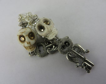 Angel Wing Skull Earrings Key Glowing Crystal Eyes Boho Free Shipping