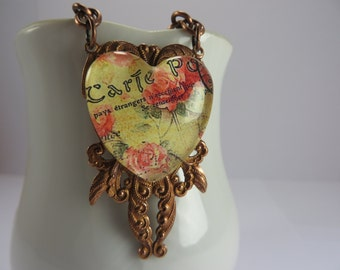 French Postcard Necklace Glass Heart Antique Copper Filigree Romantic Valentine Free Shipping