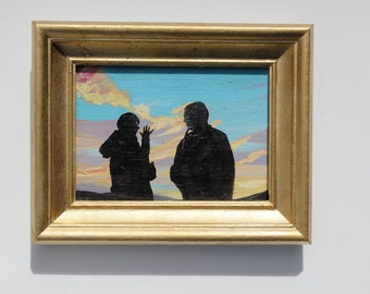 The Conversation, Original Oil Painting on Panel, Sunset Silhouettes, Figure Art with Gold Painted Frame