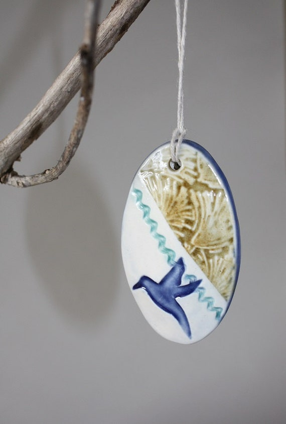 Oval Bird Ornament