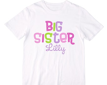 Personalized Big Sister Simple Groovy Design in Pinks, Purple, and Lime Green - Personalized with ANY Name!