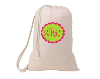 Monogrammed Large 100% Cotton Laundry Bag - Personalized with any initials and color changes welcome