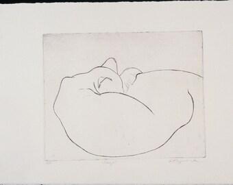 Original Fine Art Etching, Sleep