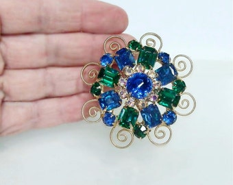 Vintage Emerald Green Sapphire Blue & AB Prong Set Crystal/Glass Rhinestone Brooch Pin HIGH END 1950s 1960s