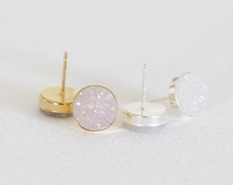 Sparkling White Natural Druzy Stud Earrings - druzy quartz, gemstone studs, post, bridesmaid gift, under 40, small, glitter, jewel, silver