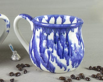 Large 28 oz. Coffee Mug, Tea Cup, Hot Cocoa Big Old Cup, White Clouds Nature Pattern Cobalt Rain, Purple Hostess Gift