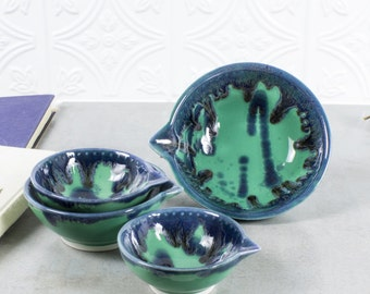 Gift for mom Ceramic Measuring Cups Set 4 Mint Green Blue Drips Nesting Prep Bowls, Kitchen Serving Home Decor Handmade Pottery