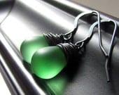 Mint Green Earrings, Green Glass Earrings, Frosted Teardrop, Green Bridesmaid Earrings, Oxidized Sterling Silver Wrapped, Czech Glass