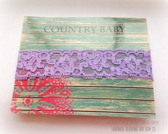 Baby Light Purple Lace Headband...Baby Lace Headband...Lace Headband...Lace Baby Headband...Purple Lace Headband