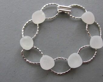 White Glass Bracelet, Hammered Bracelet, Seaglass Jewelry, Beach Glass Bracelet, White Jewelry, Wedding Gift, Gift for Her