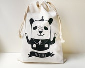 Blessing Panda Silkscreen Drawstring Pouch - Reusable, Washable & Eco Friendly Cotton Bag - Wedding Favors Pouch - Jewelry Organizer