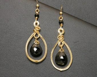 Black Gemstone Gold Long Wire Sculpture Earrings, Black Spinel Teardrop Drop Earrings