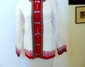 Vintage Nordstrikk Sweater  Made In Norway Winter Wool Sweater Pewter Clasp Scandinavian 1960s Wool Cardigan Large