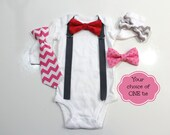 Newborn Boy Bowtie Suspenders Valentine's Day Outfit. Chevrons and Polka Dots. Baby's first valentine's day. 1st valentines.