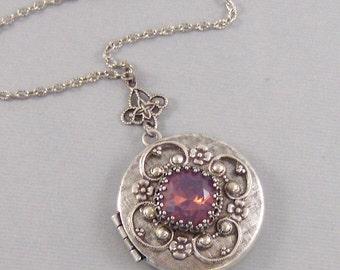 Lavender Star,Amethyst Necklace,Amethyst Locket,Antique Locket,Silver Locket,Princess Cut.,Swarovski Jewelry,Pink Jewelry Valleygirldesigns.