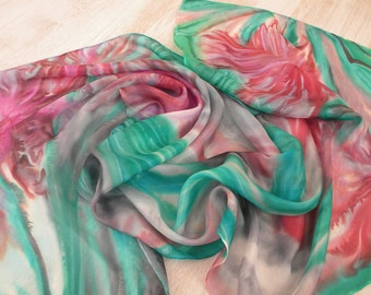 Art scarf. Floral hand painted silk scarf. Original designers scarf in shades of pink, red, gray, emerald and soft mint green