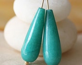 Long Jade Teardrop Beads  Semi-Precious Faceted Teardrop Jewelry Making Supplies 10x30mm (1 pair) Seafoam