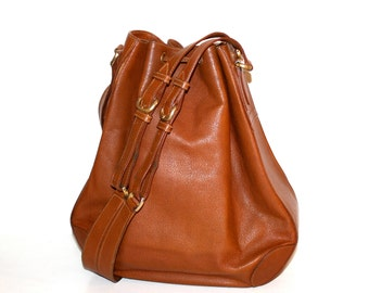 GUCCI Vintage Tote Brown Leather Large Hobo - AUTHENTIC -