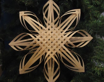 christmas tree topper, window star, irish knot, love knot, woven snowflake star, woven basket, star ornament, wall basket, white ash