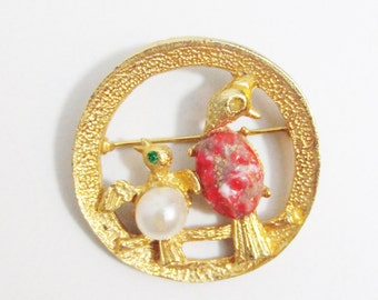 Vintage Brooch: Gold Tone Birds with Pearls and Rhinestones