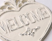 Welcome Heart Sign, Cast Iron, Ivory, Shabby Chic, Country French, Distressed