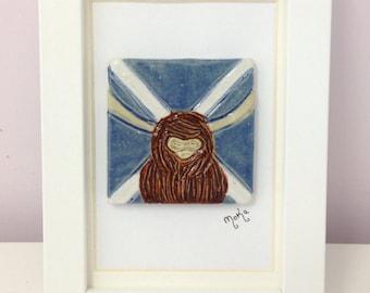 Hand Carved Highland Cow Hielan Coo Saltire Wall Hanging Tile Framed Scotland Scottish