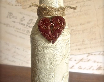 Vintage Style Bottle Vase Decoupage Art in Antiqued White with Polymer Clay Steampunk Clocks Key Hole Heart, Twine Wrapped, Love Gift Her