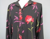 Vintage 1980s Willi of California Blooms Shirt Waist Dress Size Large