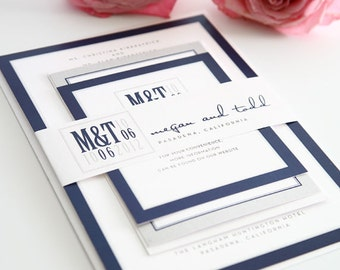 Modern Logo Wedding Invitations Sample in Navy and SIlver on Pearl Shimmer Luxury Cardstock