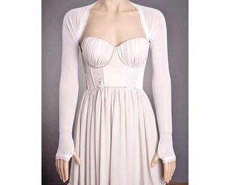 Custom WHITE Wedding BOLERO with Long Sleeves,Lace bolero,Lace Wedding Bolero,Long Sleeve Wedding bolero,Custom Wedding Bolero