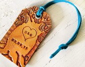 Initial Tree - Leather Luggage Tag - Add initials and date on this hand carved tag - One of a kind, Made to Order - Leather Anniversary Gift