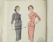 1950s Butterick 7208 Gorgeous Jacket and Pencil Skirt Dress Vintage Sewing Pattern Bust 36